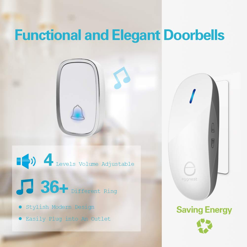 Wireless Doorbell Door Chime Kit Portable Waterproof Push Button over 900ft Long Range 4-Level Volume & Blue Light 36 Melodies to Choose 1 Transmitters 1 Receivers-White