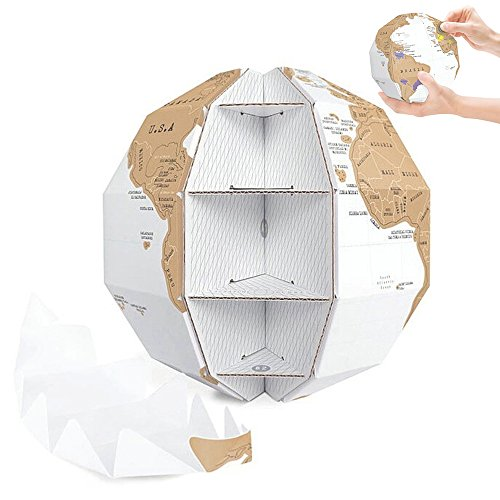 LUCKSTAR 3D Scratch Globe World Map - 3D Scratch Off Globe World Map 3D Jigsaw Puzzle Globe Brain Teaser Educational Game Toys Halloween Christmas Gifts for Kids Children Adults DIY (Halloween 3 Continents)