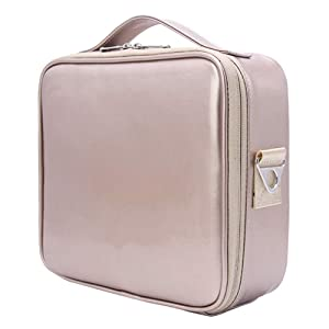 Relavel Travel Makeup Train Case Makeup Cosmetic Case Organizer Portable Artist Storage Bag 10.3'' with Adjustable Dividers for Cosmetics Makeup Brushes Toiletry (Rose Gold)