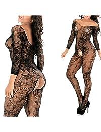 MyKiss Sexy Lingerie Women Fishnet Sheer Open Crotch Body Stocking Bodysuit Lingerie