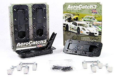 Aerocatch 3 Panel Latch Hood Pin Race Latch Black Plus Flush