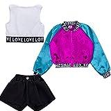 Girls Children Modern Jazz Hip-Hop Dancewear Kids Dance Paty Coat Costumes Sets (140cm)