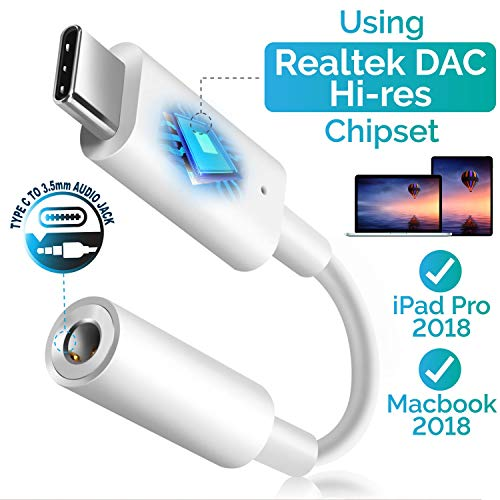 Converter Stereo Htc Headset - USB C Digital to 3.5mm Headphone Audio Adapter, Insten USB Type C to 3.5mm AUX Converter with Realtek DAC Hi-res Chipset Compatible with iPad Pro 11 12.9 2018/Google Pixel 2 XL 3 3XL/Moto Z Z2 Force