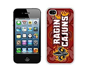 Sun Belt Conference Football Louisiana Ragin Cajuns 8 White iPhone 4 4S Screen Phone Case Lovely and Popular Design