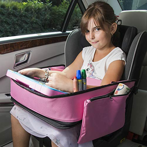 Pink Toddler Car Seat Travel Tray | +Bonus 2 in 1 Magnetic Doodle Board & Chalkboard | Kids Carseat Activity Tray, Lap & Play Tray for Car Seat and Stroller by Kidsmarter by KIDSMARTER (Image #2)