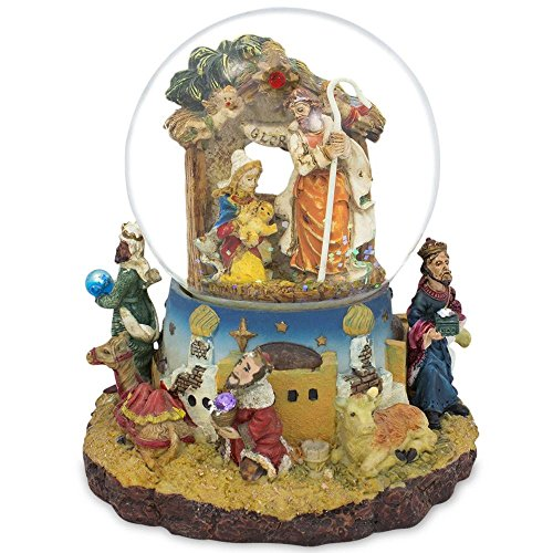 Snowglobe Scene Nativity (BestPysanky Kings Holding Gifts Nativity Scene Musical Snow Globe)