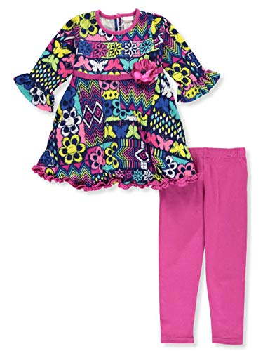 Youngland Toddler 2-Piece Leggings Set Outfit - Fuchsia/Multi, 3t (Bejeweled Cotton Jersey)