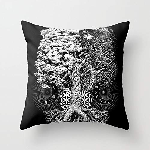 Personalized Throw Pillow Cover Cotton Decorative Pillow Case Cover Home Sofa Cushion Cover Square Design 18×18 inch/45x45cm – The Tree of Life dy
