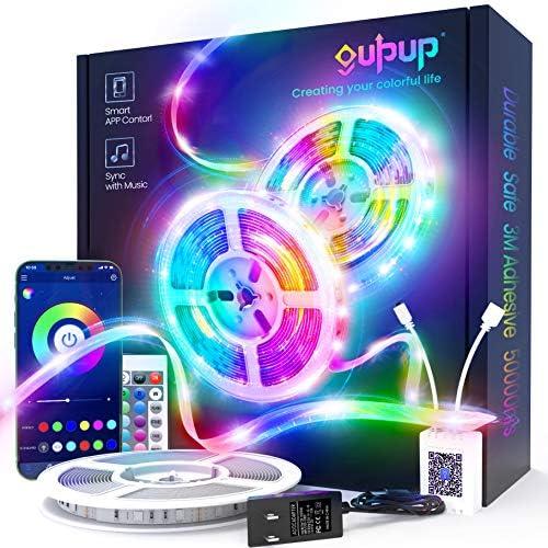 50ft LED Light Strips, GUPUP Bluetooth LED Lights for Bedroom Music Sync Color Changing RGB Smart LED Strip Lights with APP and Remote Control, 12V LED Lights for Bedroom