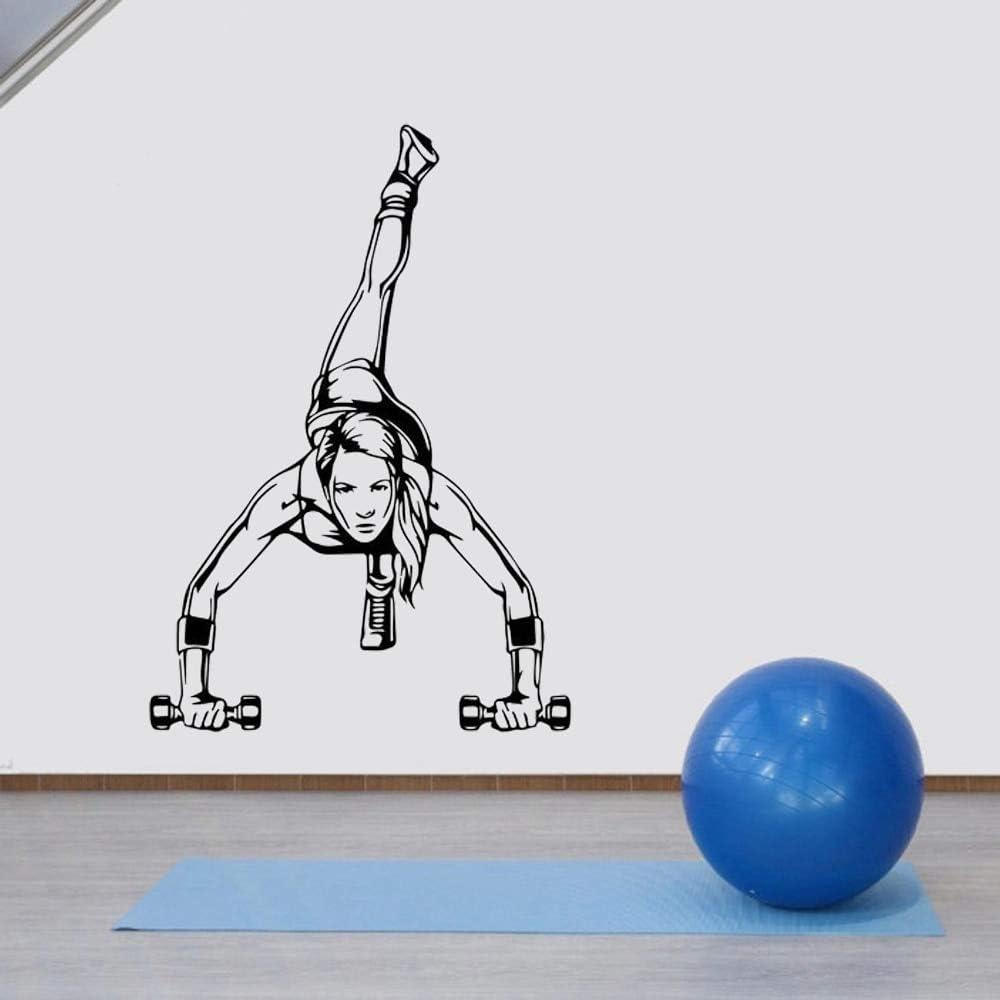 Motivación salud gimnasio ejercicio físico mujer muscular con barra pegatina de pared vinilo arte planta cactus pegatina de pared