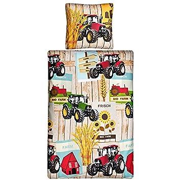Aminata Kids Kinder Bettwäsche Set 135 X 200 Cm Traktor Motiv