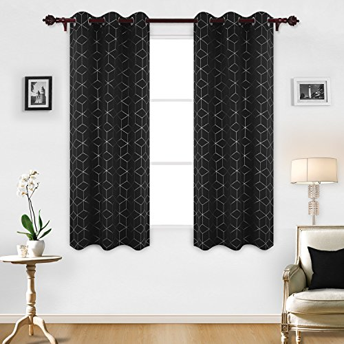 Deconovo Sliver Diamond Foil Print Drapes Thermal Insulated Curtains Grommet Blackout Curtain Panel 42 Inch by 63 Inch Black Set of - Sliver White