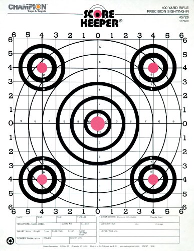 - Champion Score Keeper Fluorescent Orange Bull 100-yard Sight-in Rifle Target (Pack of 12)
