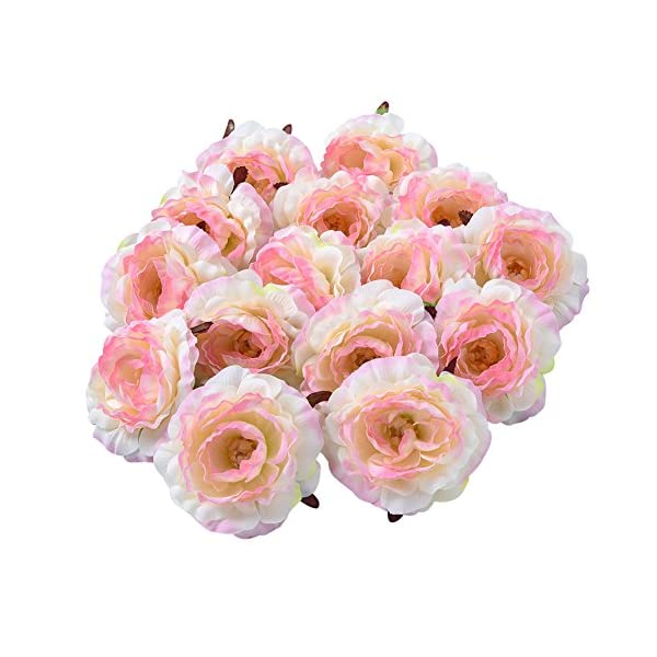 Sundlight Silk Cloth Peony Flower Head Artificial Flower Heads for Wedding Party Home Decoration-Pink