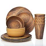 Dinnerware Set, 16 Piece Bamboo Tableware Set Anti-bacterial Eco Friendly Degradable Materials Bamboo Kids Dinnerware Sets (Coffee)