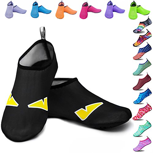 Peicees Mens and Womens Water Shoes Quick Dry Dive Beach Aqua Water Socks Upgraded Skin Shoes Booties for Beach Swim Snorkeling Surf Yoga Exercise(Little Devil-US Big Kid:4-4.5M / US W:5.5-6.5M)