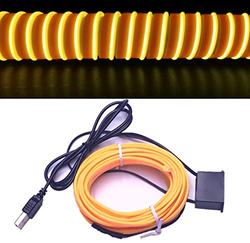 M.best USB Neon LED Light Glowing Electroluminescent Wire/El Wire for Automotive Interior Car Cosplay Decoration with 6mm Sewing Edge (5M/15FT, Yellow)