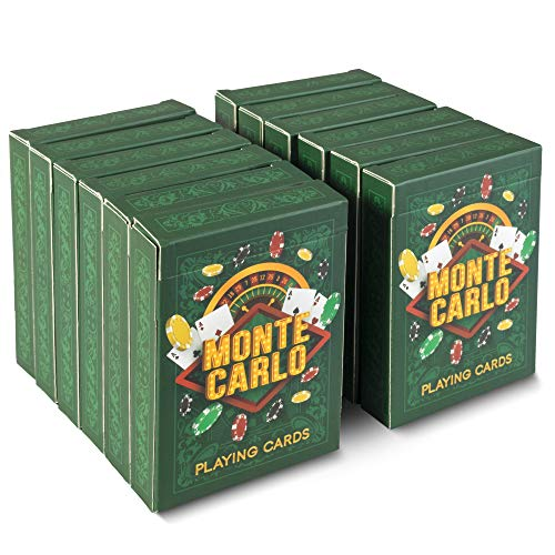 Brybelly 12-Pack of Monte Carlo Poker Decks | Premium Linen Finish Playing Cards, Standard Index, Poker Size | Casino Quality Plastic-Coated Craft 310gsm Black Core Cardstock | Bulk Card Decks