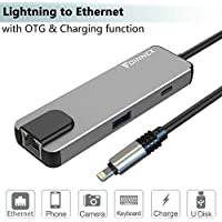 Lightning Multiport Adapter for iPad/iPhone,FOINNEX Lightning to Ethernet,USB Camera Adapter and Charging.Lightning to RJ45 LAN Wired Network,OTG(Data Sync)Hub with Female Lightning port,USB Interface