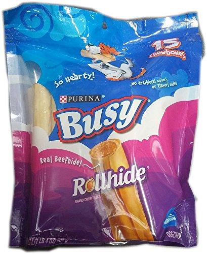 Busy Rollhide Dog Treats 15 Rolls, 4Pack (20 Oz. each) by Busy