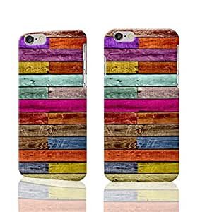 Colorful Wood Boards Photo Plastic Hard Customized Personalized 3D Case For iPhone 6 Plus - 5.5 inches