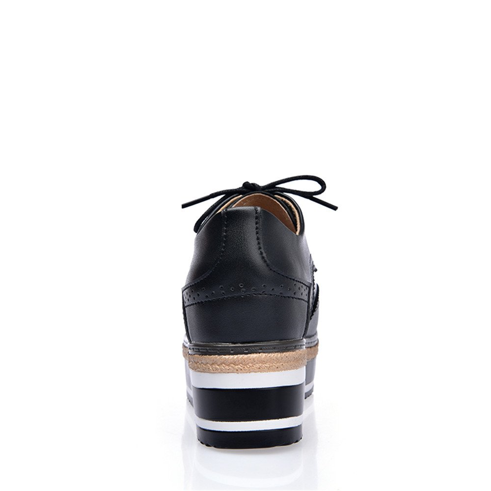 XDX Taste Of Life Womens Leather Height Increasing Vintage Oxfords Shoes Brogues Lace-up