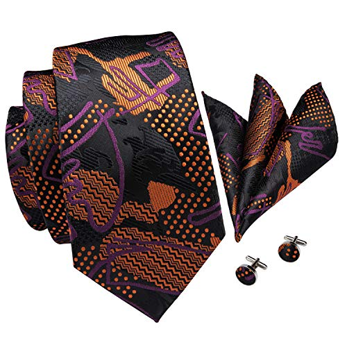 Hi-Tie New Arrival Mens Floral Paisley Tie Necktie Pocket Square and Cufflinks Tie Set Gift Box (Brown black novelty)