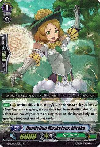 Cardfight!! Vanguard TCG - Dandelion Musketeer, Mirkka (G-RC01/050EN) - Revival Collection Vol. - Nectar Deals Card