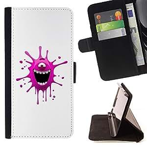 For HTC One Mini 2 M8 MINI Case , Monstruo rosado divertido- la tarjeta de Crédito Slots PU Funda de cuero Monedero caso cubierta de piel