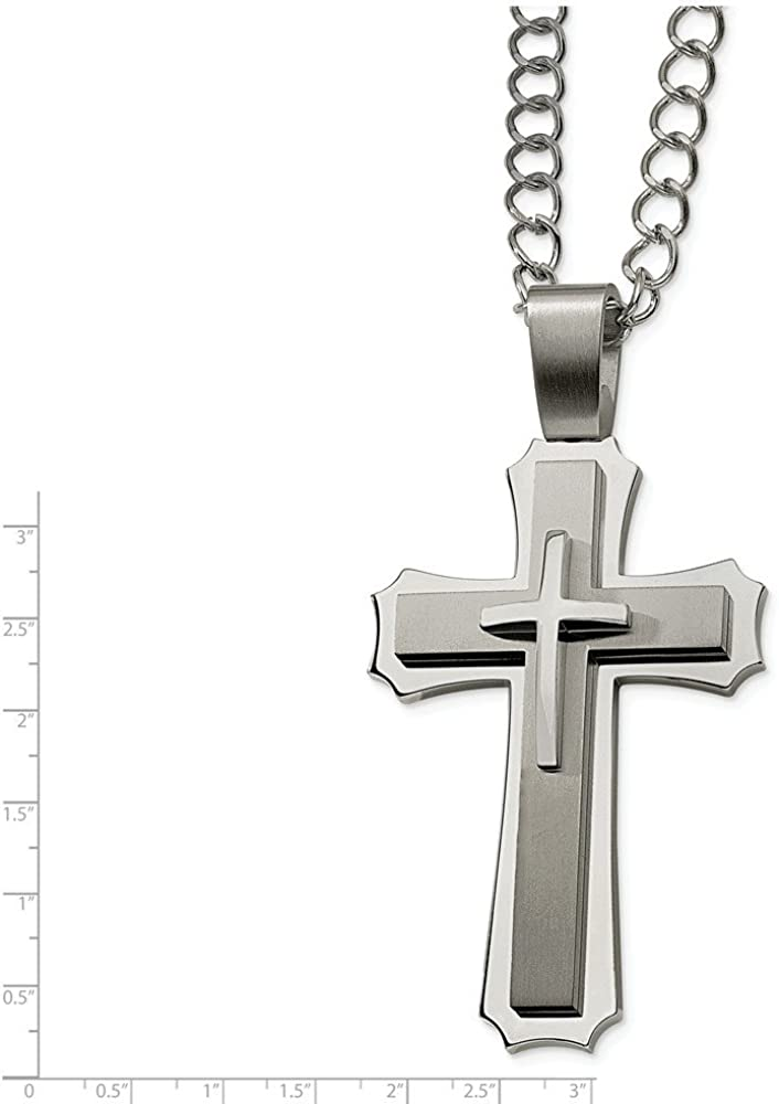 Stainless Steel Cross Pendant 24in Necklace 8mm