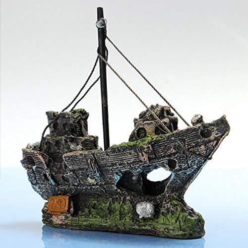 Haodou Naufragio Naufragio Nave Acuario Ornamento Barco Destructor Pescado Cisterna Decoración de La Cueva Resina Ornamento Paisajismo Decoración: ...