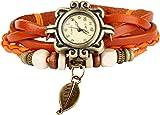 Bohemian Style [Retro] Handmade Leather [Tree Leaf] Wrist Watch. Beautiful, Fashionable [Luxury] & Stylish [Weave Around] Wrap Watch Bracelet For Women, Ladies, Girls- Orange