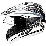 Studds Motocross D2 Helmet With Visor (White N4, L)