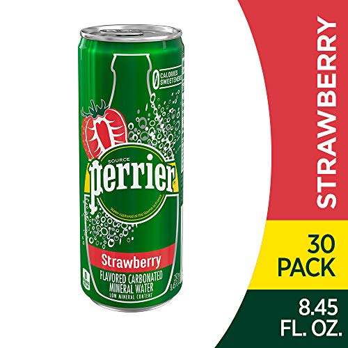 Perrier Strawberry Flavored Carbonated Mineral Water, 8.45 fl oz. Slim Cans (30 Count)