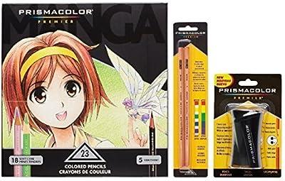 Prismacolor Premier Colored Pencil and Accessory Set, Set of 23 Prismacolor Premier Soft Core Colored Pencils, One Prismacolor Pencil Sharpener, and a 2-pack of Prismacolor Colorless Blender Pencils
