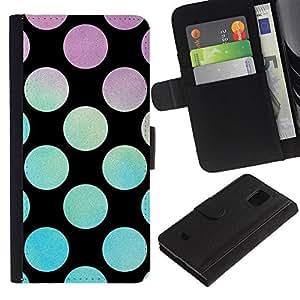 KingStore / Leather Etui en cuir / Samsung Galaxy S5 Mini, SM-G800 / Disco Party Salón Negro