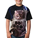 Space Kitten Kids Girls 3D Printed Short Sleeve Funny Crew Neck Top X-Small