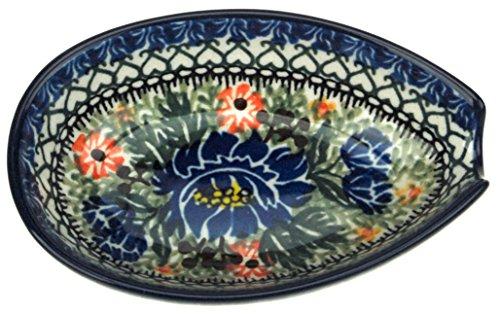 Ceramika Artystyczna Polish Hand Painted Spoon Rest (Blue Wildflowers)