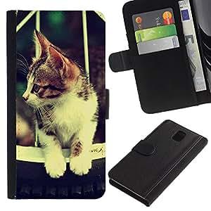 JackGot ( Carino Retro gatto Hammok ) Samsung Galaxy Note 3 III la tarjeta de Crédito Slots PU Funda de cuero Monedero caso cubierta de piel