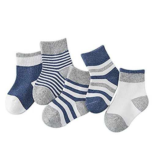 Baby Boys Girls Socks Best Infant and Toddler Gift, Kids Socks Ankle Toddler Soft Cotton Assorted Boys Girls Grip Walkers Socks (M 1-3 Years old, Dark blue)