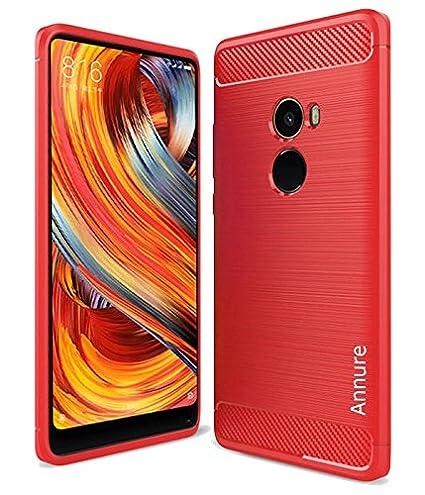 pretty nice 67f65 47f05 Annure Xiaomi Mi Mix 2 Back Cover Case Shockproof Fibre Texture (Red)
