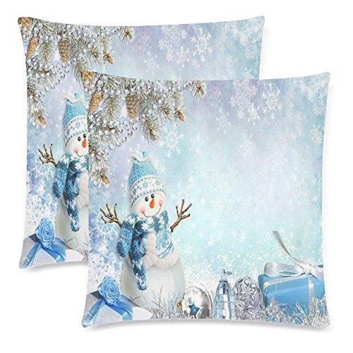 InterestPrint Winter Christmas Pillow Covers 18x18 Twin Sides, Winter Christmas Gift Snowman Snowflake Pillow Case, Set of 2 Polyester Zippered Pillowcase (Pillow Throw Snowman)