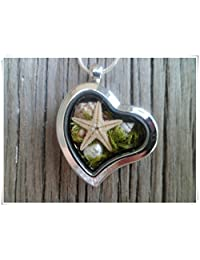 Dandelion Mother's Day Gift,Sea Necklace, Real Sea Shells, Starfish, Seaweed, Freshwater Pearl, Terrarium Necklace.