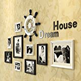 *Picture Frames Photo Gallery Frame Set of Wall with Usable Artwork and Family, Set of 9 Multiple Photos (Color : B)