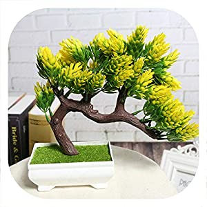 Memoirs- Artificial Flower Plant Potted Bonsai Fake Decorative Flower Plant Pine Trees for Wedding Home Decoration 48