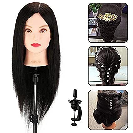 Neverland Beauty 22 Mannequin Head 100% Real Human Hair Hairdresser Training Head Handmake Cosmetology Doll Head with Clamp Holder¡¡27££ Neverland Beauty & Health