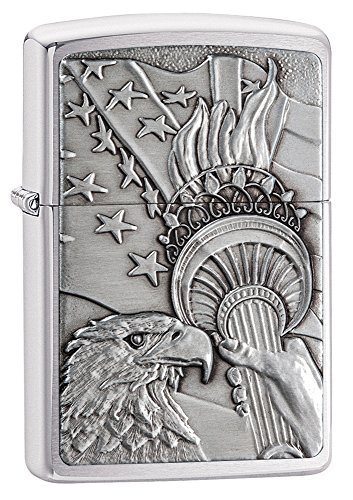 Pocket Chrome Lighter - Zippo Patriotic Pocket Lighter, Brushed Chrome