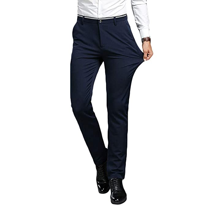 GladiolusA Pantalones De Traje Casual Slim Fit para Hombre ...