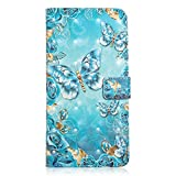 for Samsung Galaxy S10 Wallet Case and Screen Protector,QFFUN Glitter 3D Pattern Design [Blue Butterfly] Magnetic Stand Leather Phone Case with Card Holder Drop Protection Etui Bumper Flip Cover