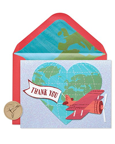 Papyrus Thank You Cards with Envelopes, Globe and Plane with Glitter (8-Count)